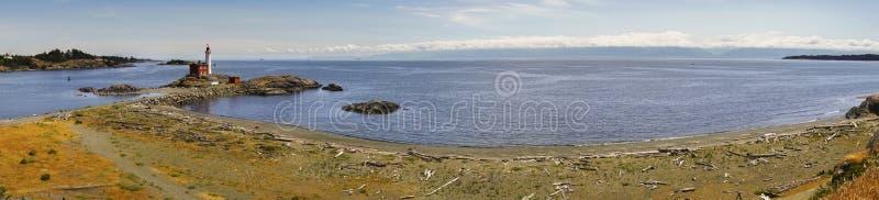 Fisgard fyr och Juan De Fuca Strait Wide Panoramic landskap arkivfoton