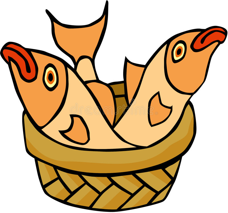 Fish. Cartoon artwork line-art royalty free illustration