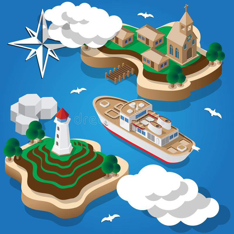 The ship goes fishing. Islands in the sea. Isometric. Vector illustration royalty free illustration