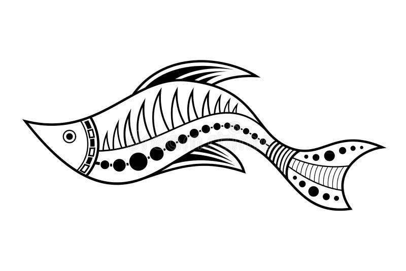 Fish. Aboriginal art style. Vector monochrome illustration isolated on white background royalty free illustration