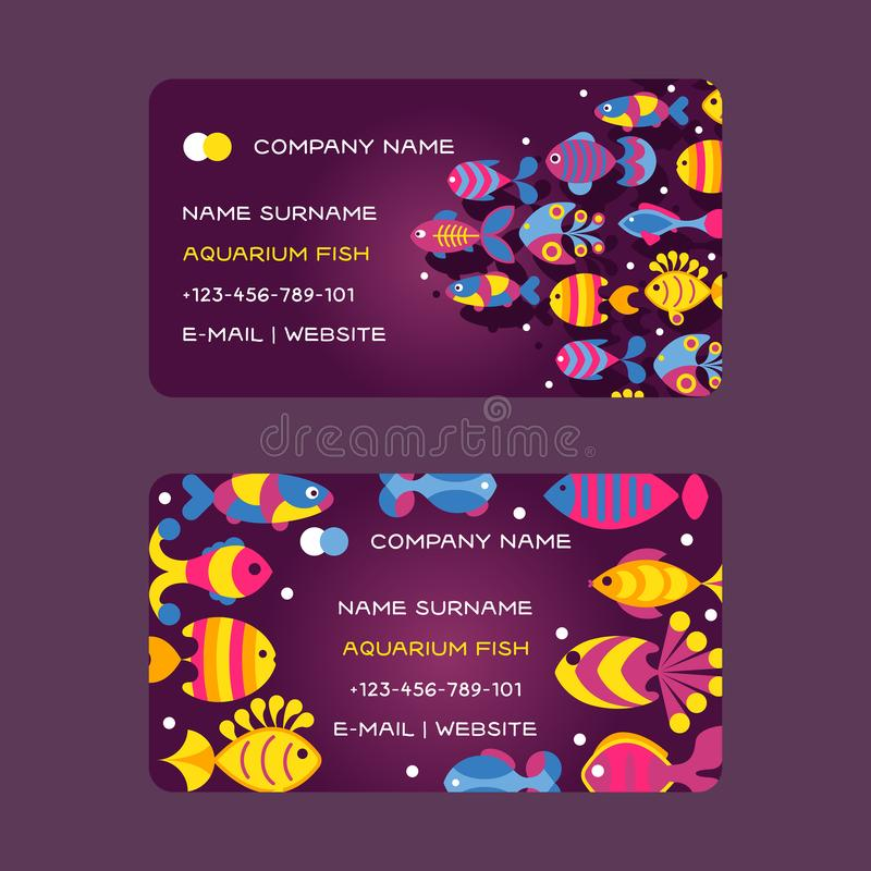 Fish, abstract colorful sea creatures, vector illustration. Business card design for pet shop with decorative aquarium stock illustration