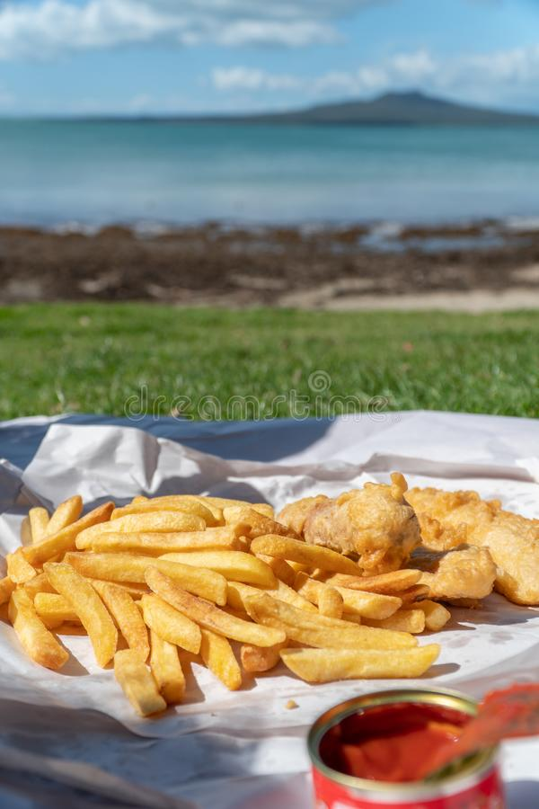 Free Fish And Chips At The Beach Auckland Stock Photo - 158017210