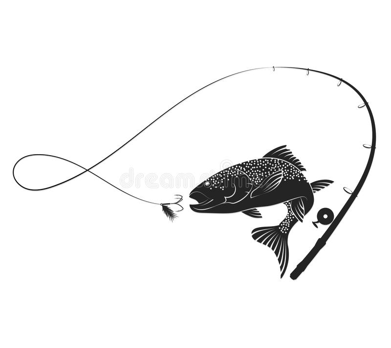 Free Fish And Fishing Rod Silhouette Royalty Free Stock Image - 86460216