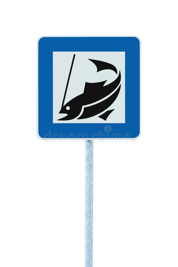 Download Fish Angling Camp Road Sign Isolated Pole Post Stock Photo - Image: 24813314