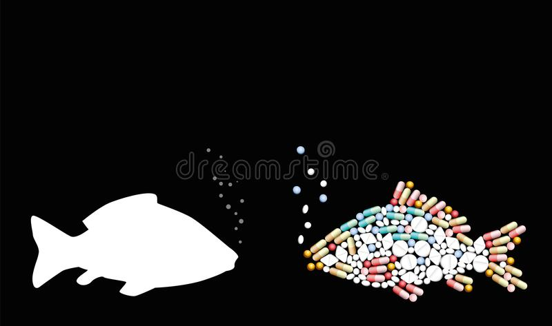 Fish Antibiotics Contaminants. Fish, antibiotics, contaminants. Pills that shape a fish. Symbol for animal contamination, food and healthcare issues, medicine vector illustration