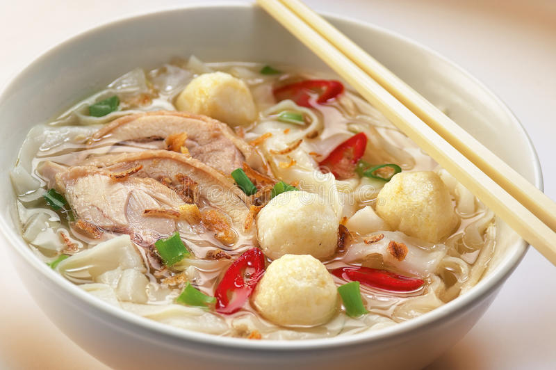 Fish ball Noodles stock photo