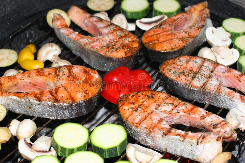 Fish barbeque stock photo