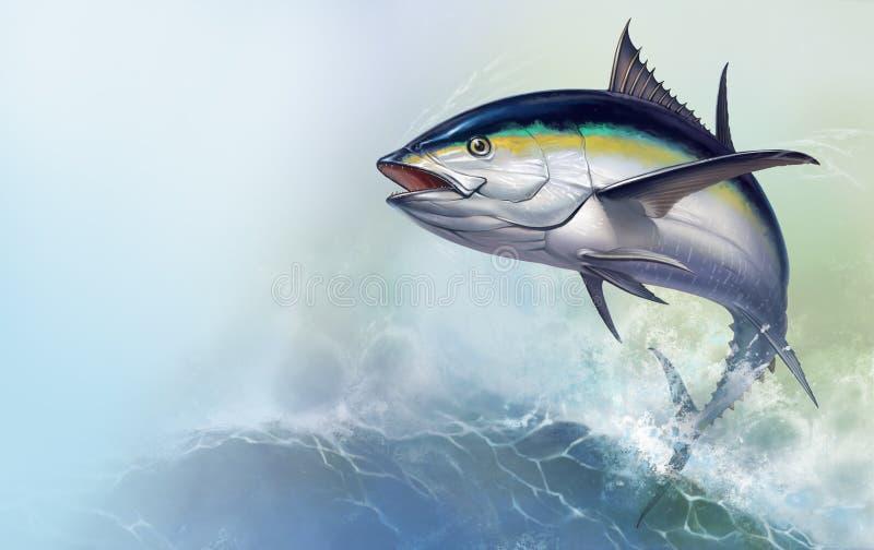 Tuna jumps out of the sea. black fin tuna royalty free illustration