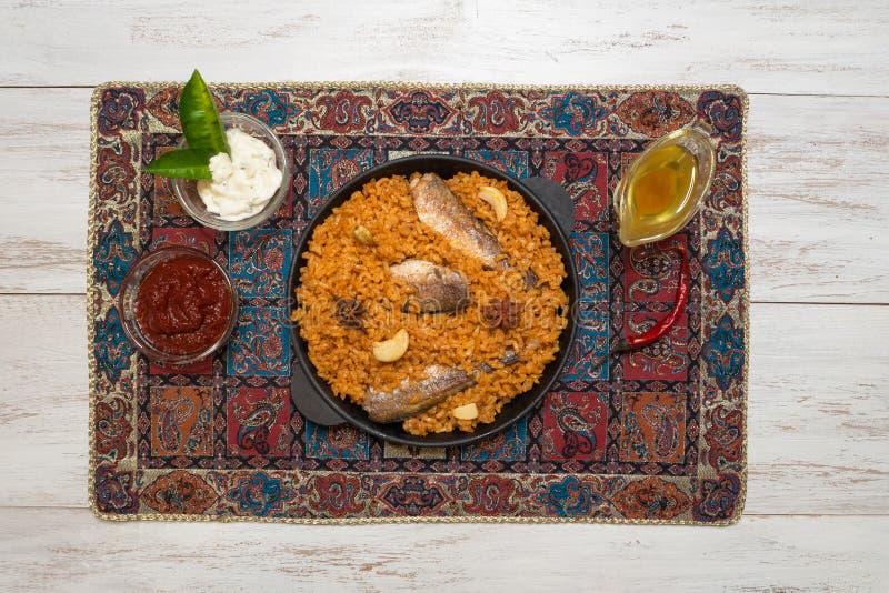 Fish Biryani. Saudi arabian Fish Kabsa. Top view. stock images