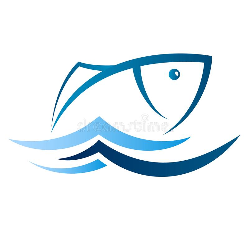 Fish on blue waves silhouetted stock photography