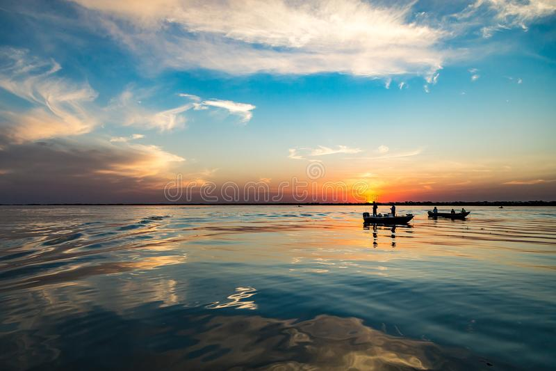 Fish Boat at Parana river, Brazil. Border of Sao Paulo and Mato. Grosso do sul states royalty free stock image