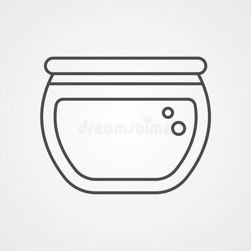 Fish bowl vector icon sign symbol. Fish bowl outline icon - vector round aquarium with a fish minimal symbol or logo element in thin line style royalty free illustration