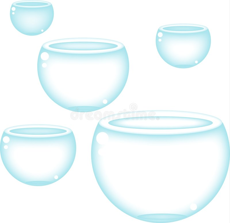 Fish bowls. Some empty fish bowls, could be the next home of a small fish or could be the next thing broked in your house, it's up to you, what it is vector illustration