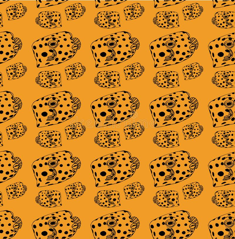Fish-box pattern black lines, fish on yellow background stock illustration