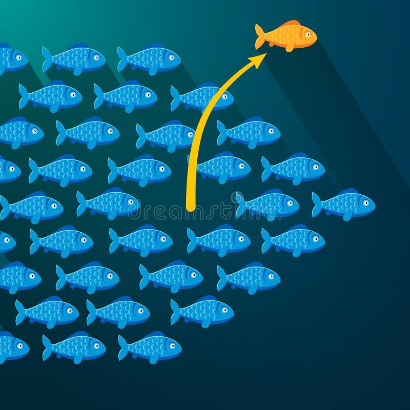 Fish break free from shoal. Entrepreneur concept vector illustration