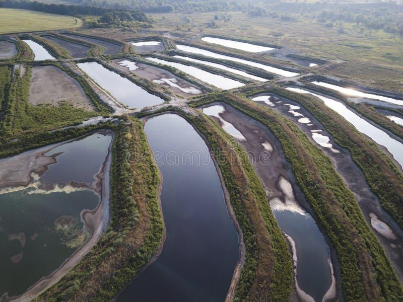 Fish breeding farm, aerial view royalty free stock photo