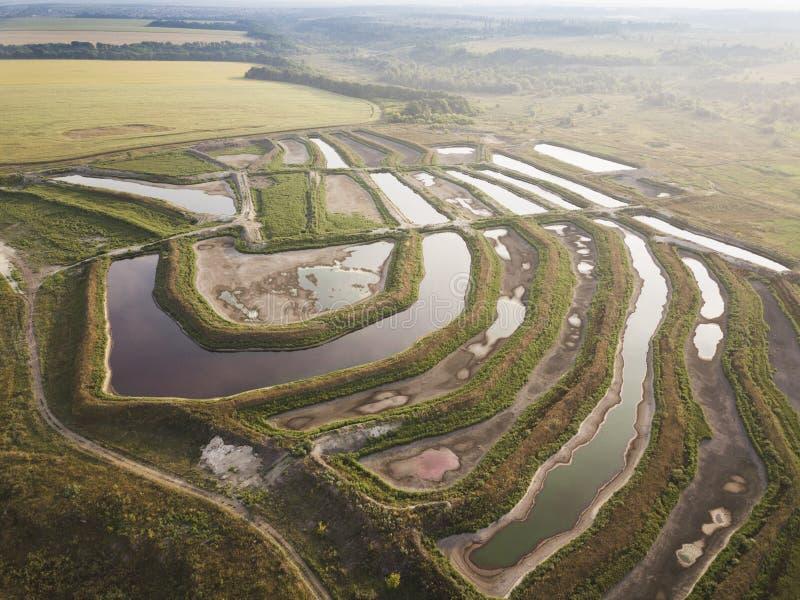 Fish breeding farm, aerial view royalty free stock image