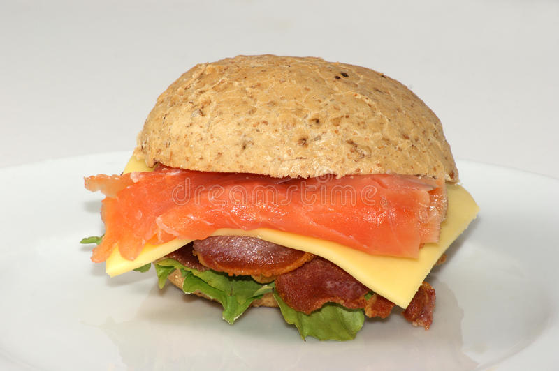 Fish burger with salmon stock images
