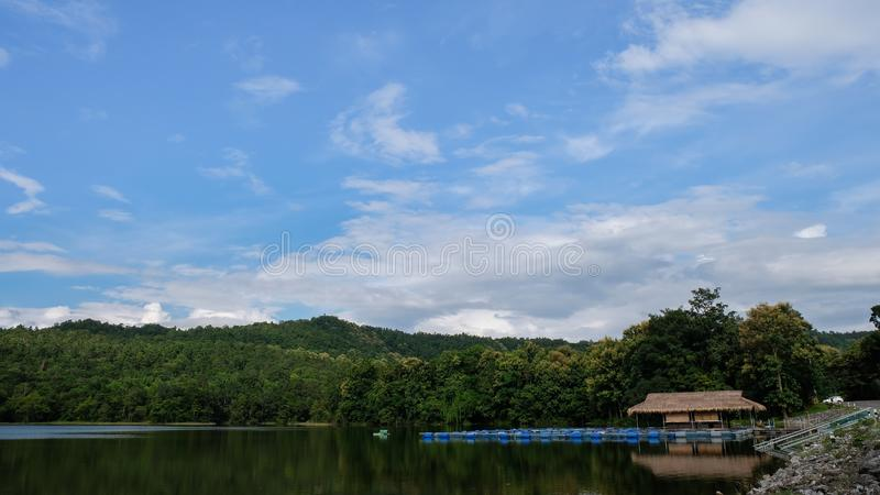 Fish cage and mountain landscape background royalty free stock image