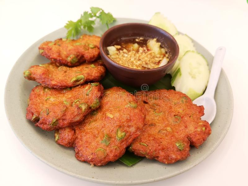 Fish Cake with Roasted Chilli Curry stock photography