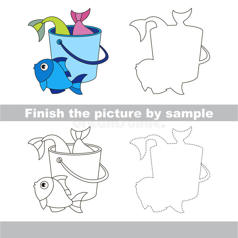 Fish catch. Drawing worksheet. Drawing worksheet for children. Finish the picture and draw the cute Fish catch royalty free illustration