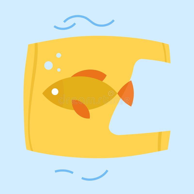 Fish cached into the plastic bag. vector illustration