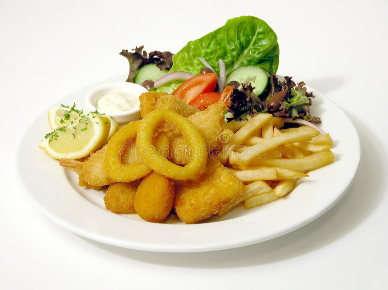 Download Fish and Chips stock image. Image of serving, prawns, course - 14773