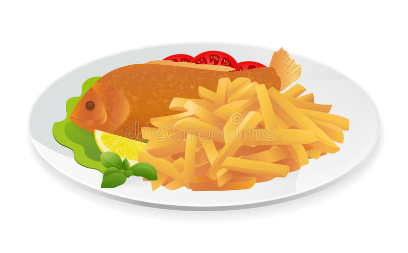 Fish and Chips royalty free illustration