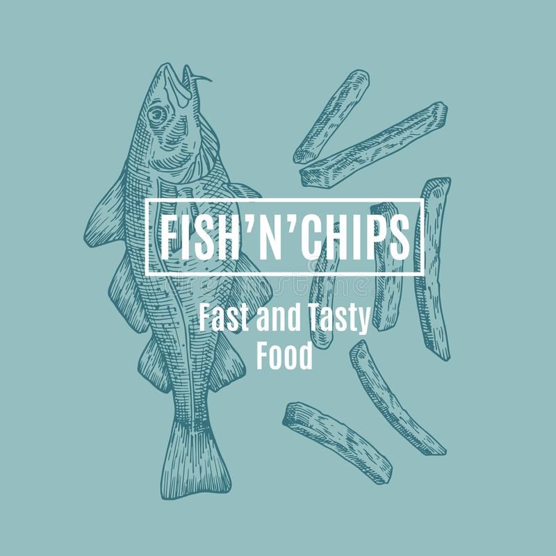 Fish and Chips Abstract Vector Card, Sign or Logo Template. Hand Drawn Cod Fish and Potato Fries with Modern Typography. In a Frame. Premium Quality Vector royalty free illustration