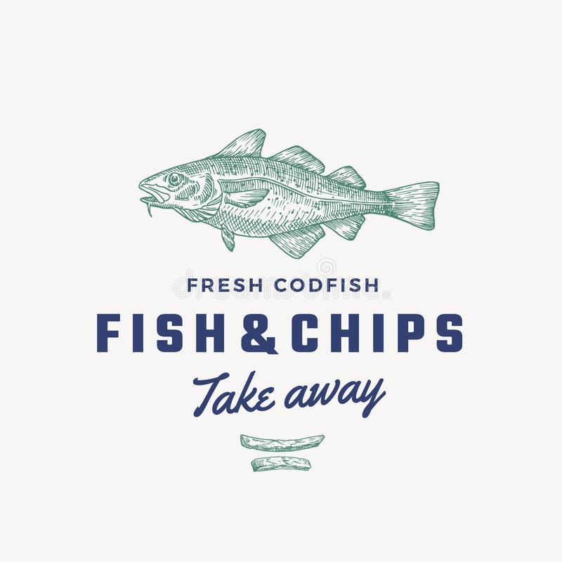 Fish and Chips Abstract Vector Sign, Symbol or Logo Template. Hand Drawn Cod Fish and Potato Fries with Classy Retro. Typography. Vintage Vector Emblem royalty free illustration