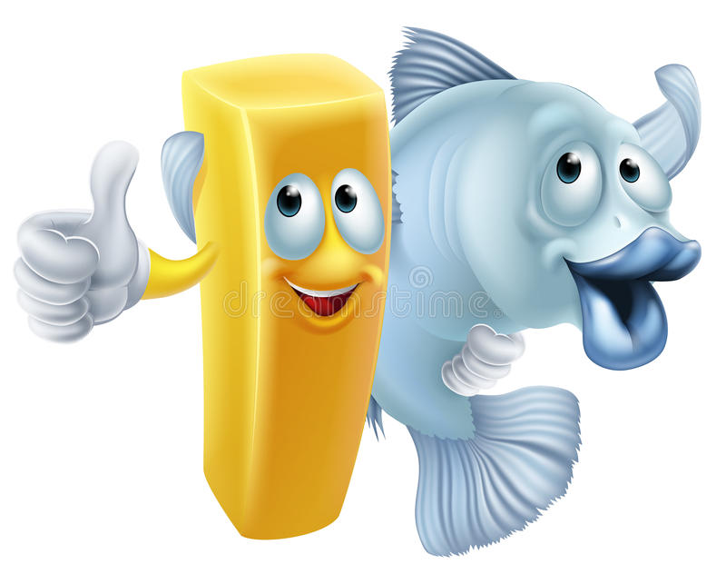 Fish and chips cartoon. Fish and chips friends cartoon concept of a chip or French fry character and fish character arm in arm royalty free illustration