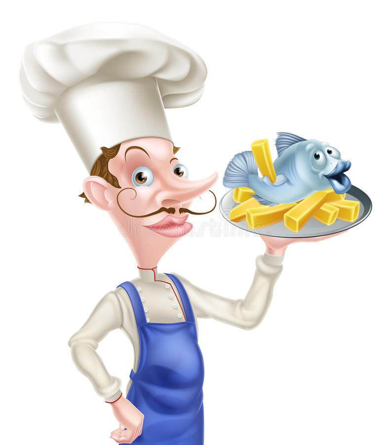 Fish and Chips Chef royalty free illustration