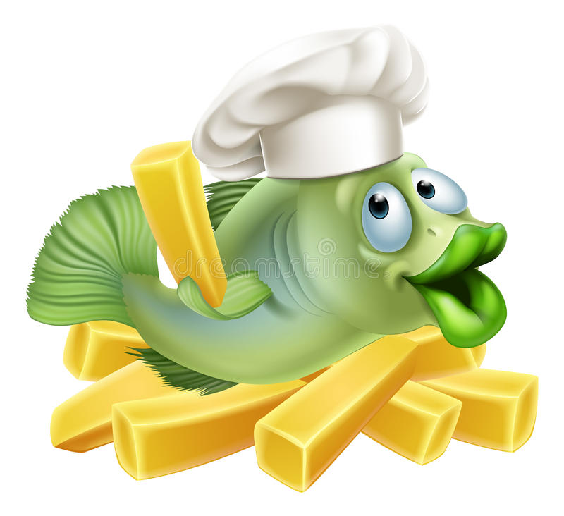 Fish and chips chef. A chef fish character with a chefs hat on with chips vector illustration