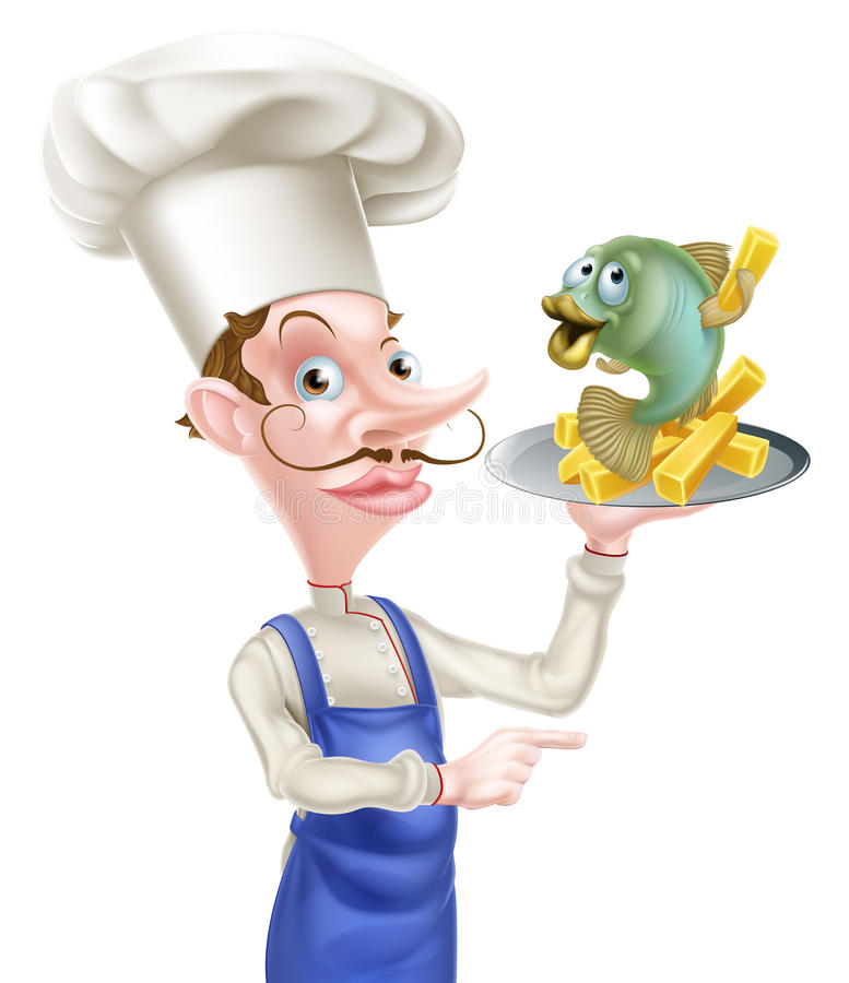 Fish and Chips Chef Pointing vector illustration