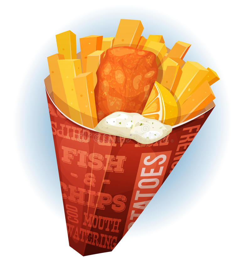 Fish And Chips Cornet vector illustration