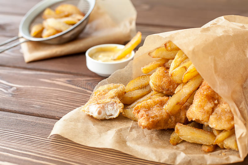 Fish and chips fast food. Fish and chips English fast food stock photo