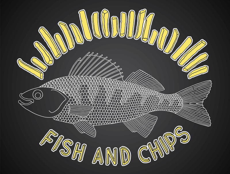 Fish and chips 1 royalty free illustration