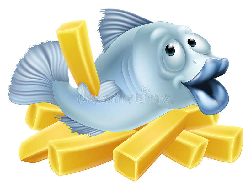 Fish and chips. Illustration of a happy fish character lying n chips or French fries and holding one vector illustration