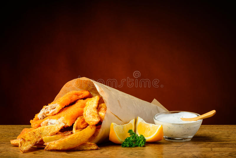 Fish and chips menu stock images
