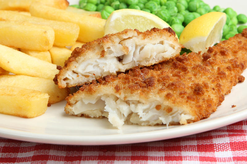 Download Fish and Chips with Peas stock photo. Image of chips, breadcrumbs - 9835218