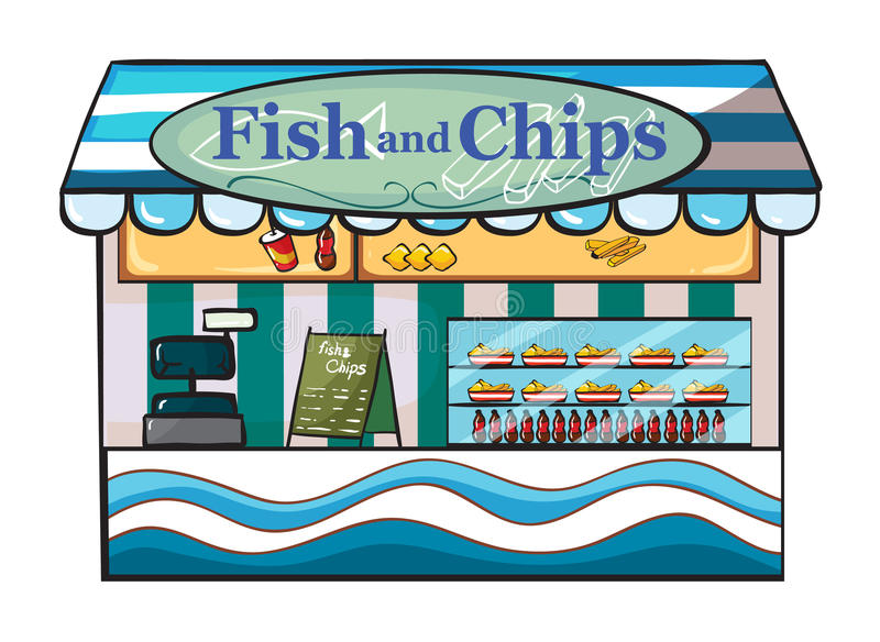 A fish and chips shop stock illustration