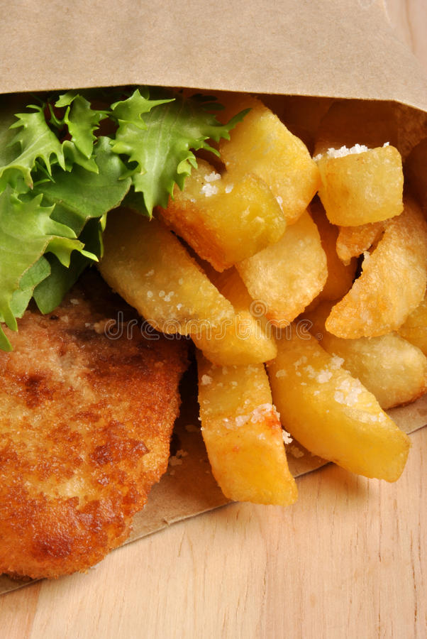 Download Fish And Chips With Some Salad Stock Photo - Image: 11972646