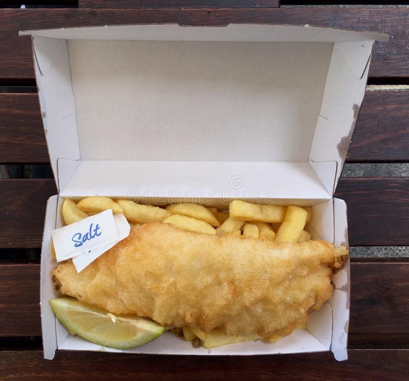 Fish and Chips in takeaway box stock photography