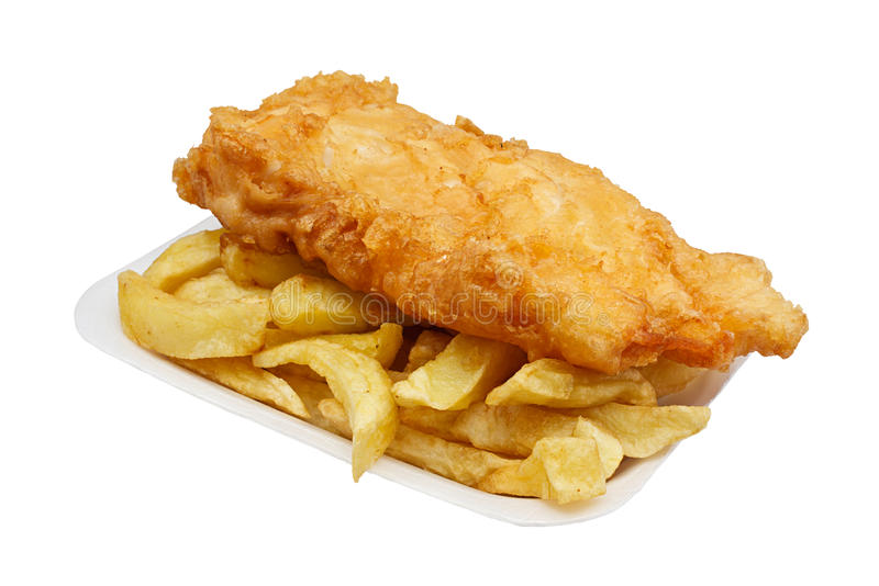 Fish and chips in tray stock image
