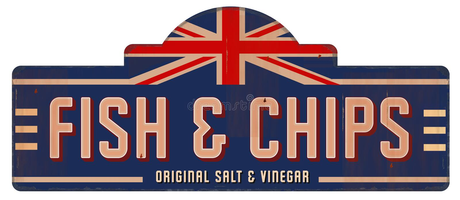 Fish and Chips Vintage Sign Tin Metal English British London royalty free illustration