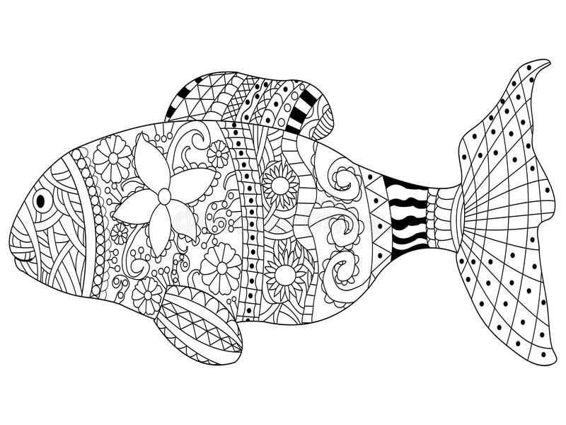 Download Fish Coloring Book Vector For Adults Stock
