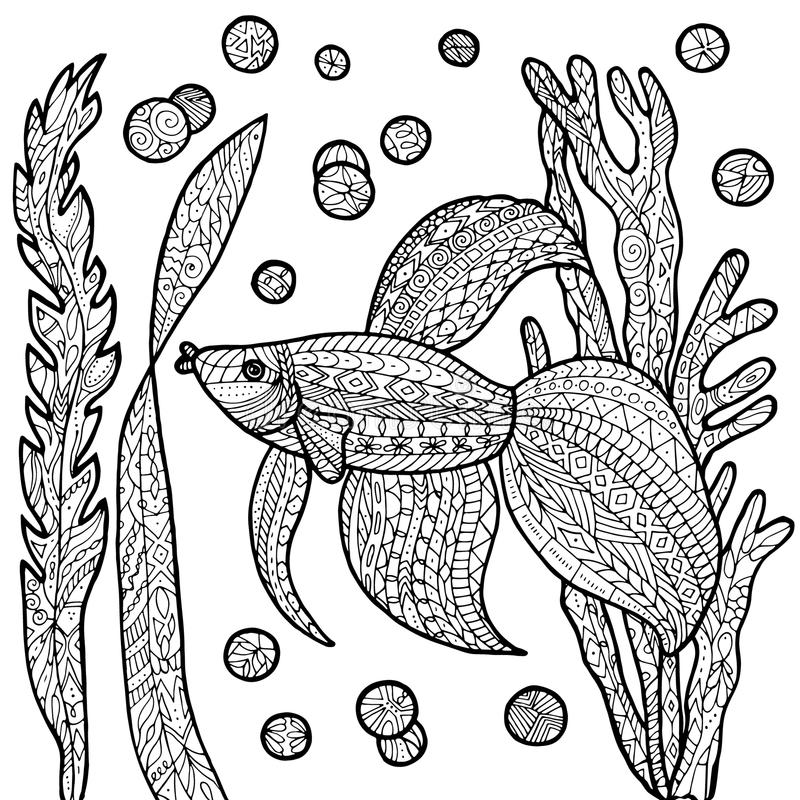 ✅ Colorless funny cartoon puffer fish. Vector illustration ... | 800x800