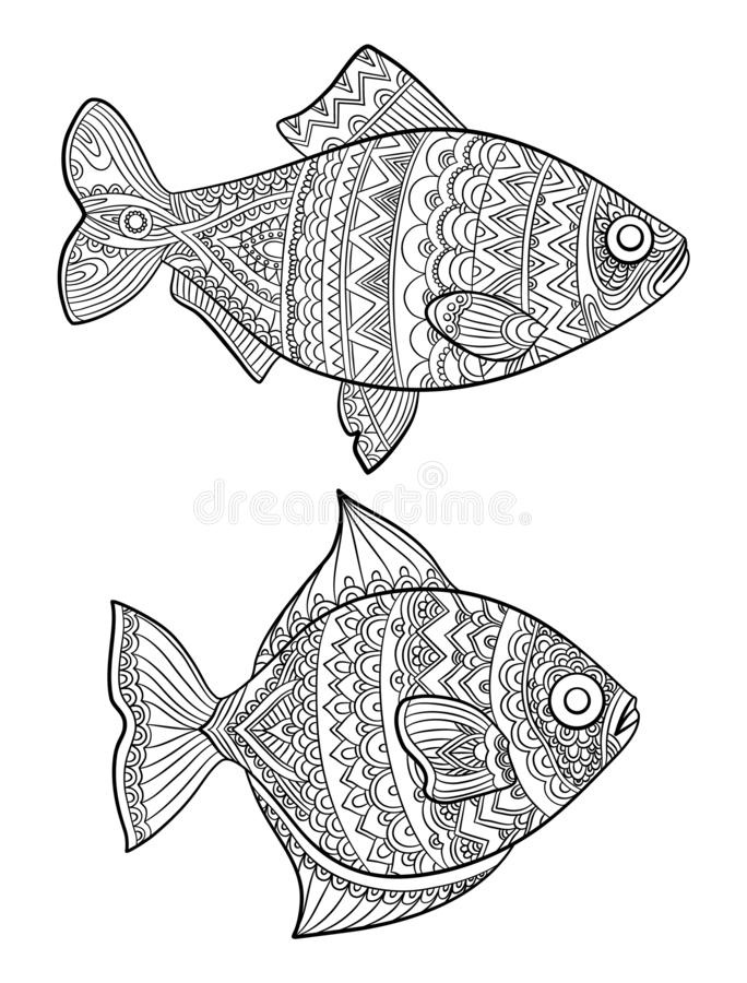 Fish coloring pages. Fashion drawing ocean animals drawings for adults books linear art vector line. Fish coloring drawing, ocean or sea animal sketch vector illustration