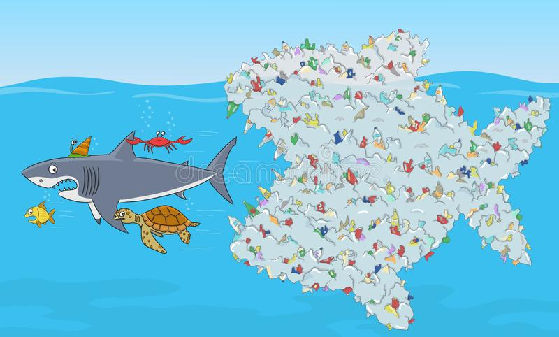 Fish composed of plastic waste. Stop ocean plastic pollution. royalty free stock image