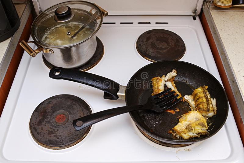 Fish cooked in a frying pan on an electric stove. The lid is open. Unhealthy fatty foods. stock photography